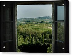 Open Window Looking Out On The Tuscan Acrylic Print
