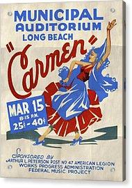 Opera Carmen In Long Beach - Vintage Poster Folded Acrylic Print