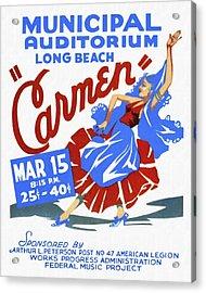 Opera Carmen In Long Beach - Vintage Poster Restored Acrylic Print