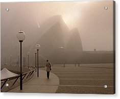 Opera House In The Fog Acrylic Print by Barry Culling