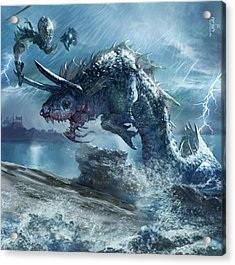 Ophiotaur Attack Acrylic Print by Ryan Barger