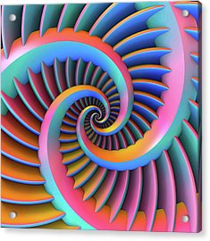Acrylic Print featuring the digital art Opposing Spirals by Lyle Hatch