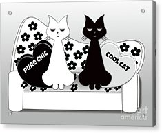 Opposites Attract - Black And White Cats On The Sofa Acrylic Print