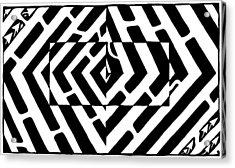 Optical Illusion Maze Of Floating Box Acrylic Print by Yonatan Frimer Maze Artist
