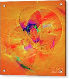 Orange Abstract Acrylic Print by Deborah Benoit