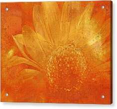 Acrylic Print featuring the digital art Orange Abstract Flower by Fine Art By Andrew David
