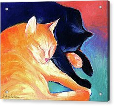 Orange And Black Tabby Cats Sleeping Acrylic Print