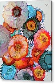 Orange And Blue Bouquet Acrylic Print