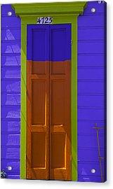 Orange And Blue Door Acrylic Print