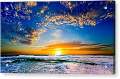 Acrylic Print featuring the photograph Orange And Blue Sunset Sun Setting Over The Ocean by Eszra Tanner