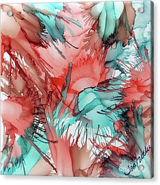 Salmon And Sea Blended Ink Acrylic Print by Jo Ann Bossems