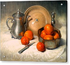 Orange And Gray Acrylic Print by Donelli  DiMaria
