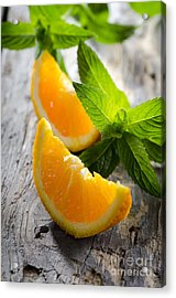 Orange And Mint Acrylic Print by Jelena Jovanovic