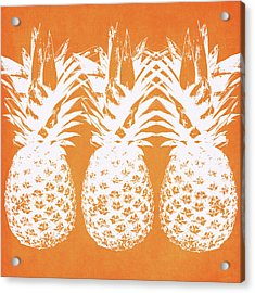 Orange And White Pineapples- Art By Linda Woods Acrylic Print