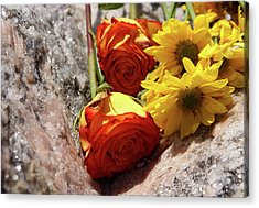 Orange And Yellow On Pink Granite Acrylic Print
