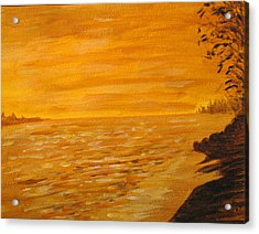 Acrylic Print featuring the painting Orange Beach by Ian  MacDonald