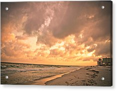 Orange Beach Acrylic Print by Victoria Lawrence