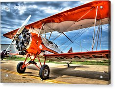 Orange Bi-plane Acrylic Print by Dan Crosby