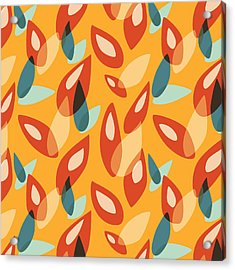 Orange Blue Yellow Abstract Autumn Leaves Pattern Acrylic Print