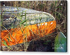 Acrylic Print featuring the photograph Orange Boat In The Dune by John Rizzuto
