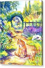 Orange Cat In The Garden Acrylic Print by Peggy Wilson