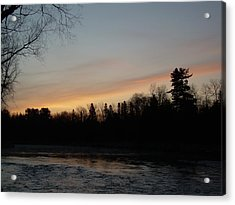 Acrylic Print featuring the photograph Orange Clouds Mississippi River Dawn by Kent Lorentzen