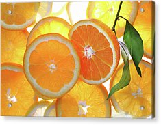 Orange Cut With Slices Of Citrus Background. Acrylic Print by Bruno Haver