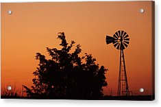 Orange Dawn With Windmill Acrylic Print