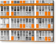 Orange Exterior Decoration Details Of Modern Flats Acrylic Print by John Williams