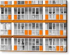 Orange Exterior Decoration Details Of Modern Flats Acrylic Print