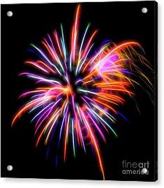 Acrylic Print featuring the photograph Orange Fireworks by Yulia Kazansky