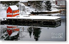 Orange Fishing Shack On A Dock In Maine Acrylic Print