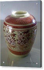 Orange Flowered Vase Acrylic Print