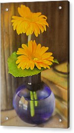 Orange Flowers Blue Vase Acrylic Print