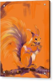 Acrylic Print featuring the painting Orange Forest Squirrel by Go Van Kampen