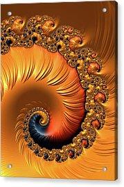 Acrylic Print featuring the digital art Orange Fractal Spiral Warm Tones by Matthias Hauser