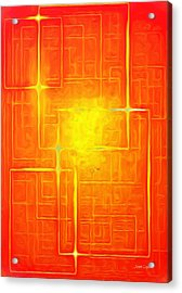 Orange Geometry - Da Acrylic Print by Leonardo Digenio