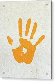 Orange Handprint On A Wall Acrylic Print