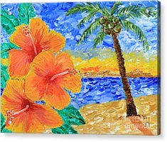 Orange Hibiscus Coconut Tree Sunrise Tropical Beach Painting Acrylic Print