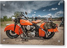 Orange Indian Motorcycle Acrylic Print