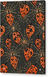 Orange Leaves With Holes And Spiderwebs Acrylic Print