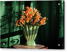 Orange Lilies In June Acrylic Print by Wendy Blomseth