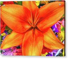 Acrylic Print featuring the painting Orange Lilly Art by Deborah Benoit