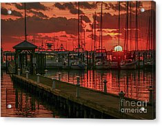 Orange Marina Sunrise Acrylic Print
