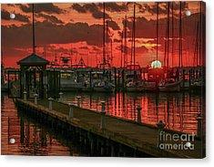 Orange Marina Sunrise Acrylic Print