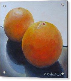 Orange Noir Et Blanc Acrylic Print by Muriel Dolemieux