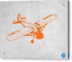 Orange Plane 2 Acrylic Print by Naxart Studio