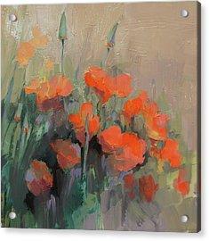 Orange Poppies Acrylic Print by Cathy Locke