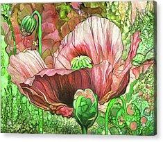 Acrylic Print featuring the mixed media Orange Poppy Garden by Carol Cavalaris