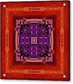 Orange Red And Purple Kaleidoscope Acrylic Print by Barbara MacPhail